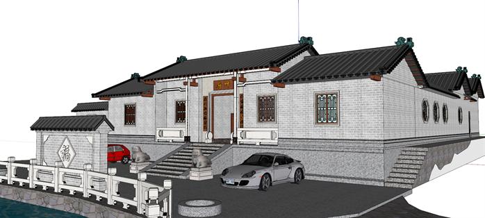 四合院别墅设计图建筑方案设计SU模型