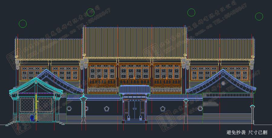 四合院正视图设计图
