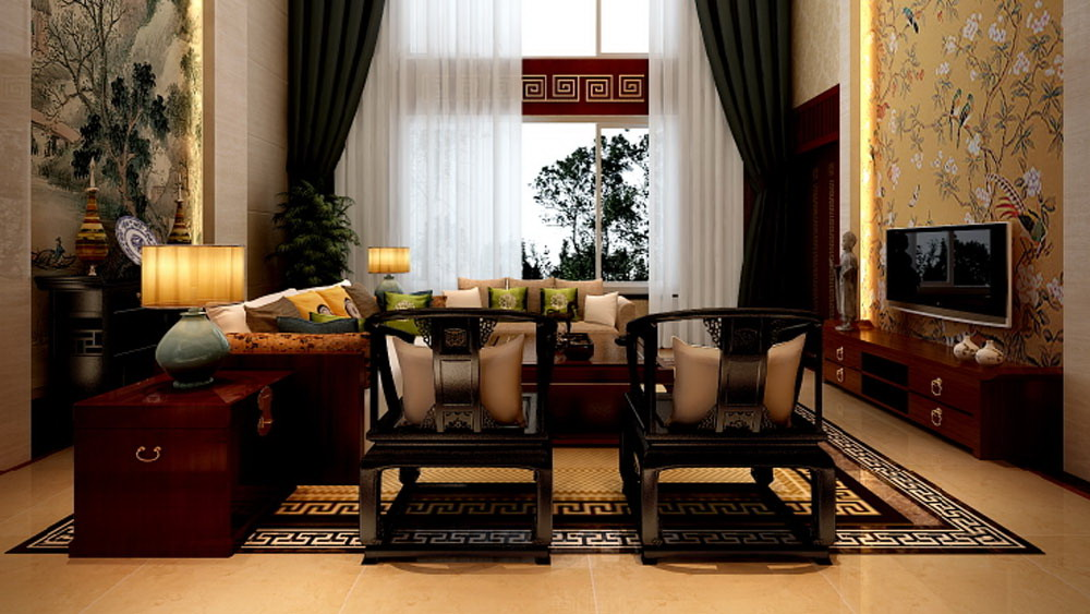 中式别墅装修传统古典绘画的魅力