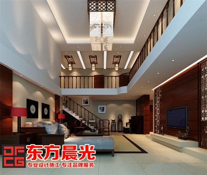 独栋别墅装修设计中式客厅