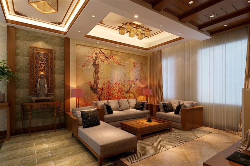 中式别墅装修设计原木芳香四溢