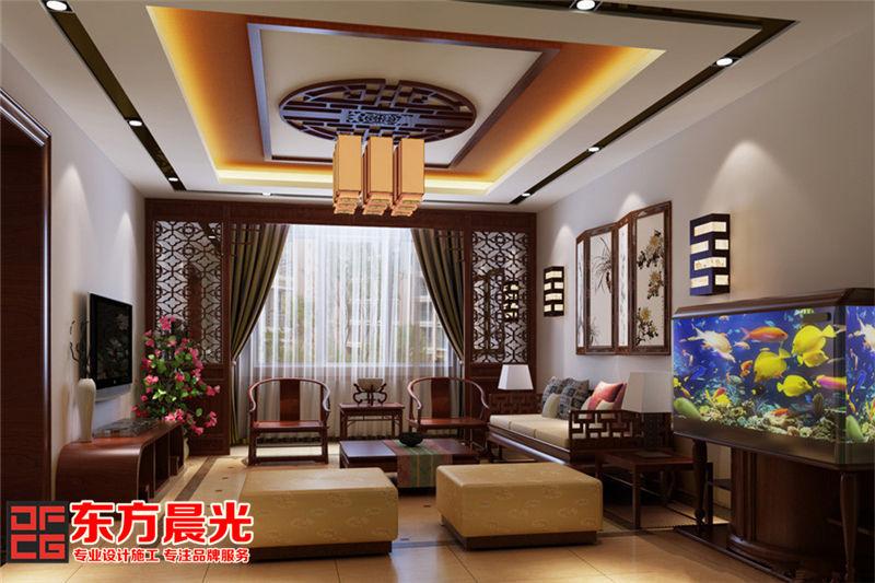 中式别墅装修设计——客厅