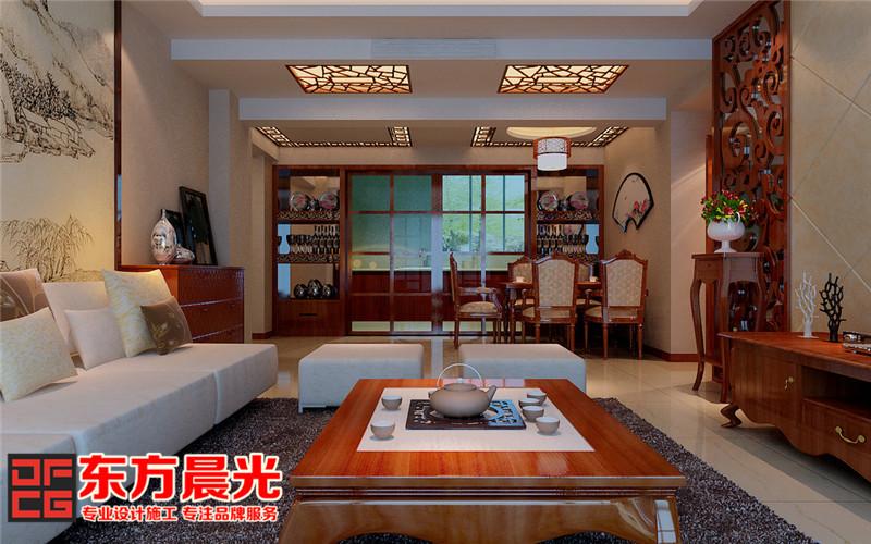 中式风格高端沉稳别墅装修设计-客厅