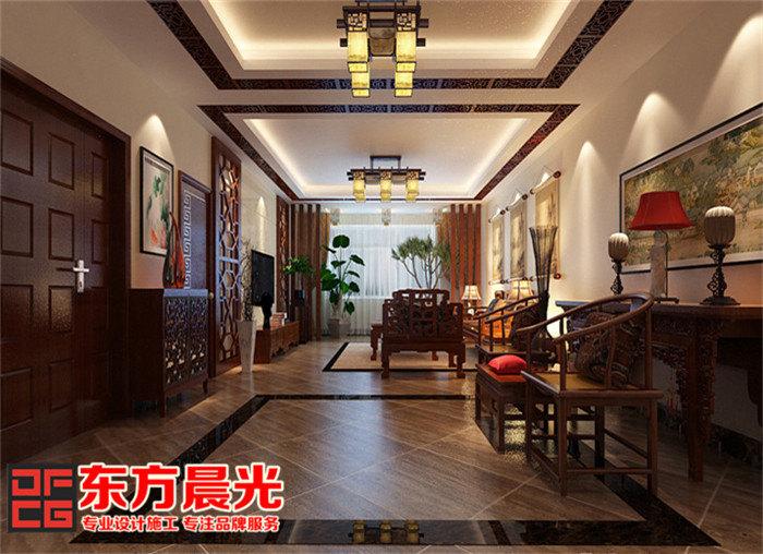 别墅中式装修效果图展示中国风-中式客厅