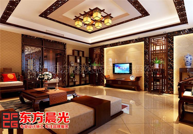 别墅中式装修设计显柔和古典美客厅