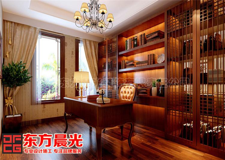 别墅中式装修设计显柔和古典美中式书房设计