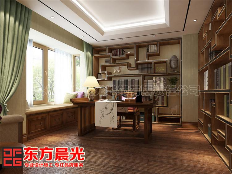 新中式风格联排别墅书房装修效果图