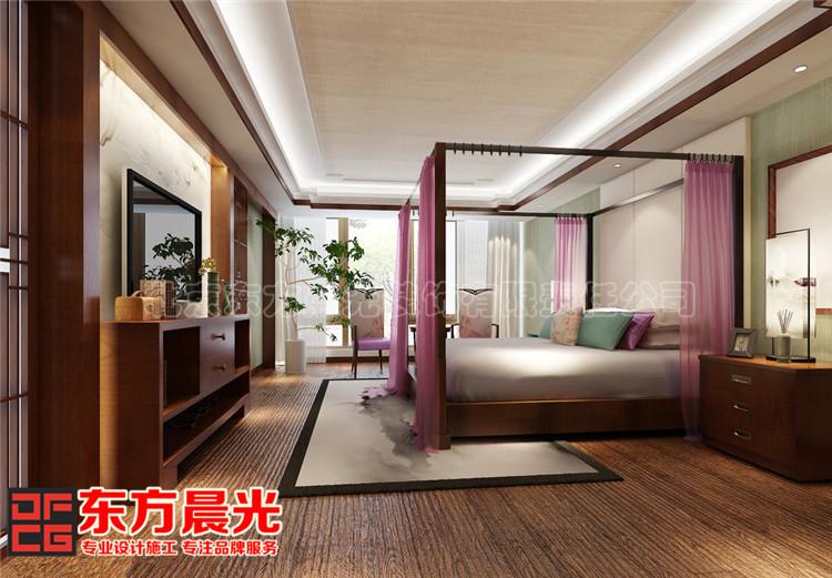 新中式风格联排别墅卧室装修效果图