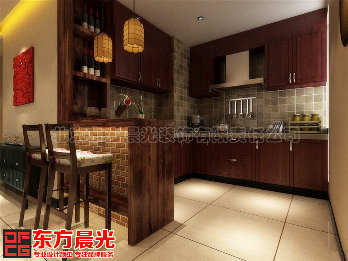 中式风格时尚别墅装修设计-厨房
