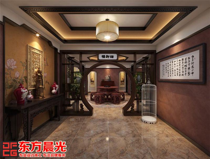 厚重古典风格中式装修设计月洞门