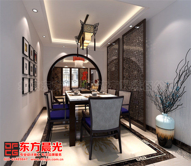整套别墅简约中式装修设计图-餐厅