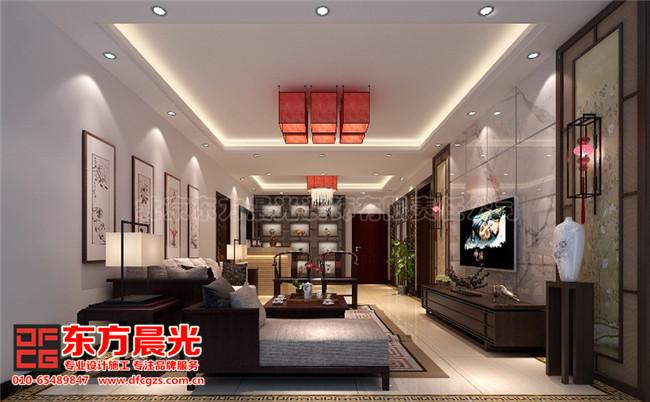 整套别墅简约中式装修设计图-客厅