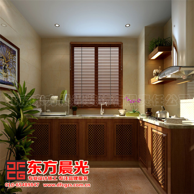 现代中式别墅装修设计-厨房
