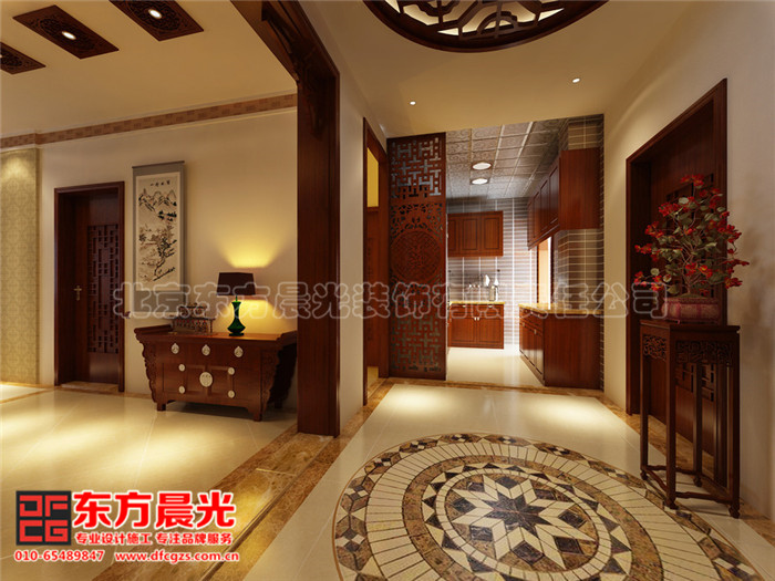 中式别墅装修设计 厨房过道