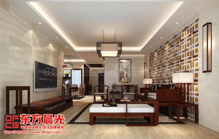 沙发背景墙设计给人一种很浓的中式气息.古典红木家具摆放井