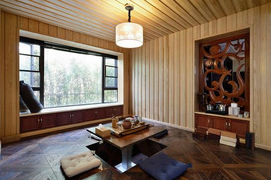 中式复式别墅客厅空间设计效果