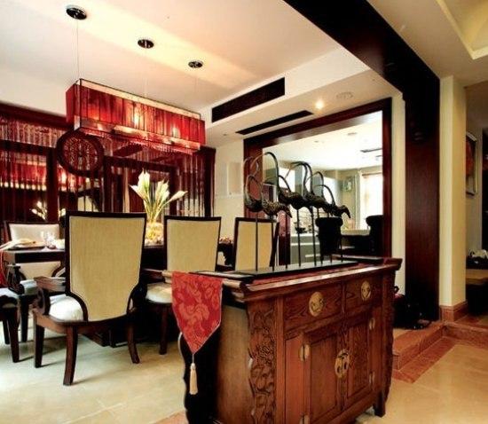 别墅新中式餐厅装修设计图