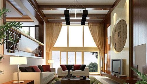 别墅客厅中式设计装修效果图
