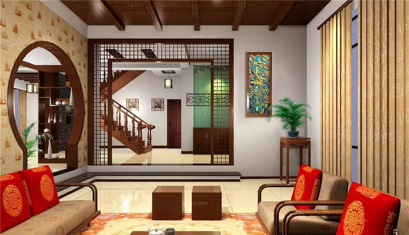 现代四合院别墅复古装修 舒适与传统的结合