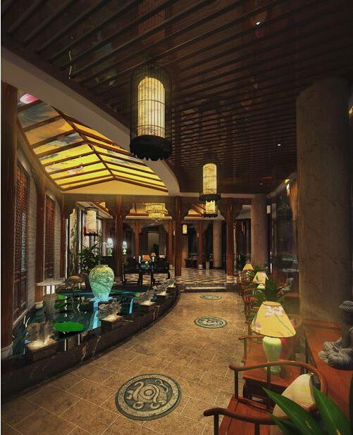 高雅的休闲气氛的中式酒店装修