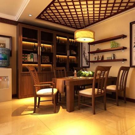 现代中式设计风格餐厅的装修效果图