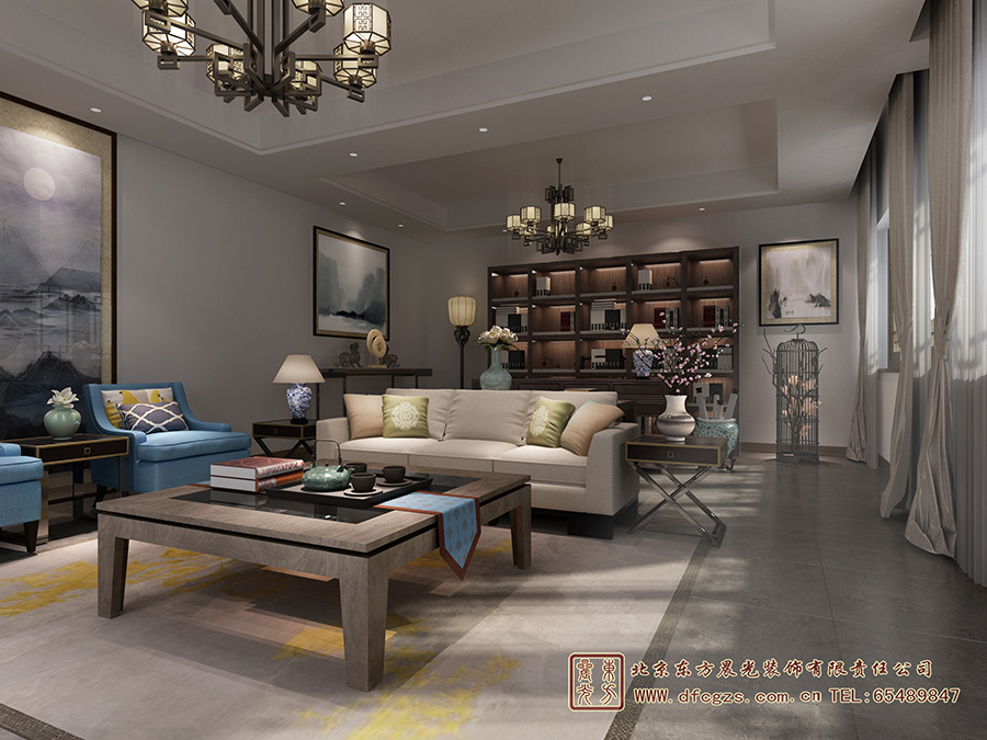 中式酒店设计客厅设计效果图
