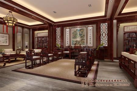 四合院酒店中式大堂设计效果图
