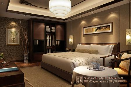 中式四合院酒店卧室设计效果图