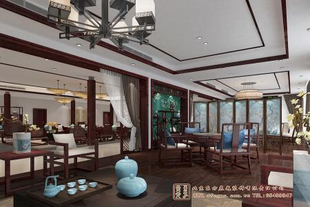 四合院中式酒店休闲区设计效果图