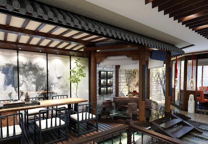 温馨淡雅的中式会所装修设计