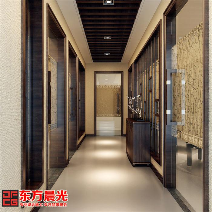 私人会所装修中式设计之地下层过道