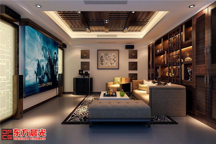 私人会所装修中式设计之影视厅