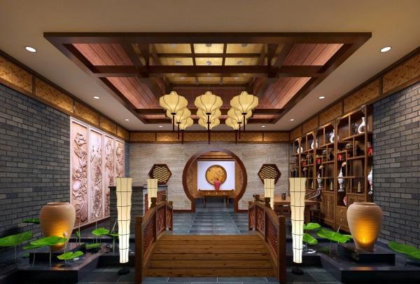 中式会所室内装修效果图片