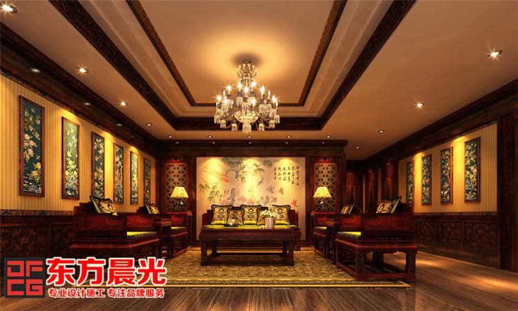 中式会所装修效果图 红木彰显贵气