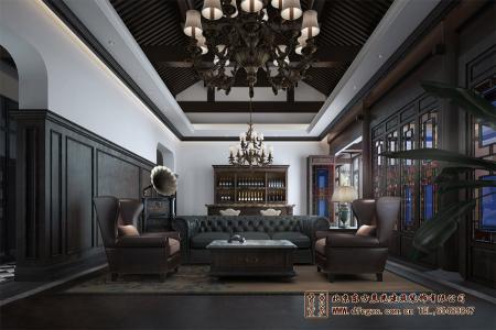 新中式四合院会所大厅设计效果图