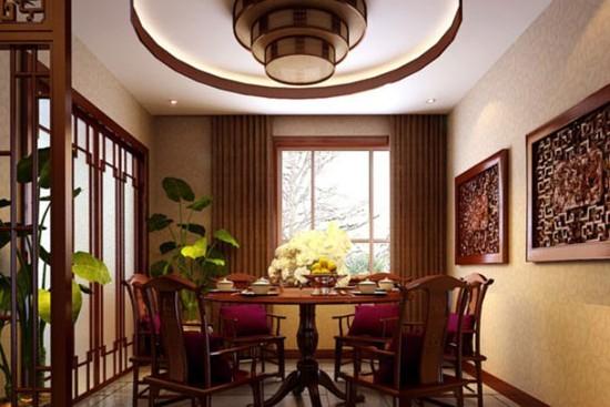 中式餐厅设计装修效果图上的灯饰艺术