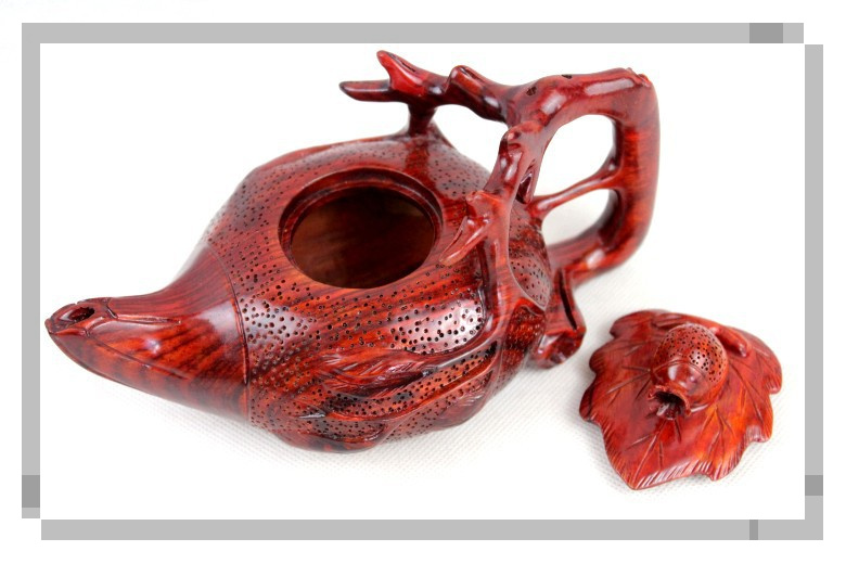 木雕茶壶摆件