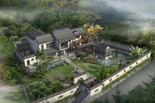 中式两层四合院别墅设计及园林
